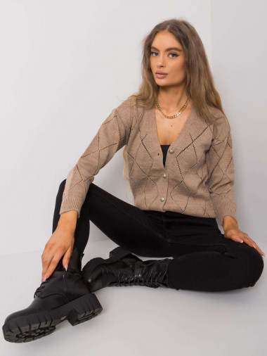 RUE PARIS Ciemnobeżowy damski sweter na guziki