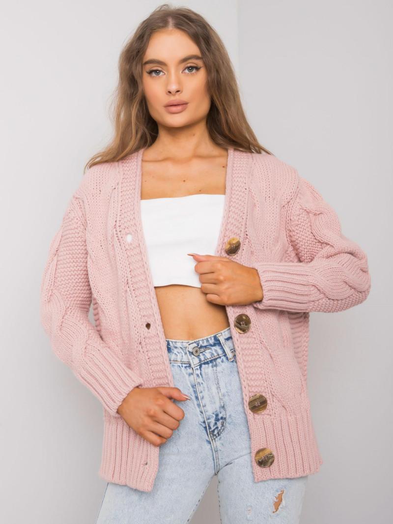 RUE PARIS Brudnoróżowy sweter rozpinany