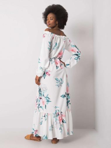 RUE PARIS Biała sukienka hiszpanka w kwiaty