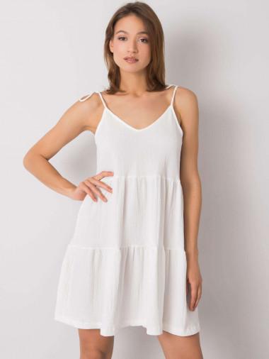 RUE PARIS Biała sukienka damska z falbaną
